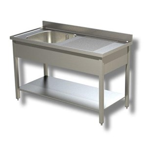 Spültisch mit 1 Becken - Tischbeine aus Vierkantprofil - mit Grundboden