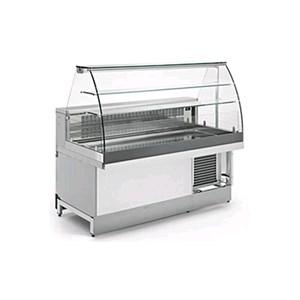 Gekühlte Snack-Theke - MOD. VSRVAC - Halbfertigprodukt, ohne Verkleidung - hohe gebogene Scheiben - statische Kühlung - Temperaturbereich: +4/+8 °C  - mit Kondensator-Einheit - Maße: 82,8 (T) x 135  cm - Tiefe der Auslagefläche: 60,5 cm