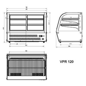 TISCHKÜHLVITRINE SNACK AUS EDELSTAHL AISI 430 - GEBOGENES GLAS - Mod. G-VPR120 - TEMPERATUR: +2/ +8°C - KAPAZITÄT: 120 Liter - Einphasige Stromversorgung 230V/1/50Hz - Leistung: W 160 - Abmessungen in cm (B x T x H): 69,5  x 58 x 67 - Gewicht: 70 kg