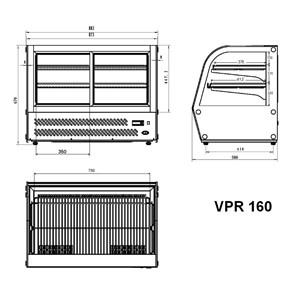 TISCHKÜHLVITRINE SNACK AUS EDELSTAHL AISI 430 - GEBOGENES GLAS - Mod. G-VPR160 - TEMPERATUR: +2/ +8°C - KAPAZITÄT: 160 Liter - Einphasige Stromversorgung 230V/1/50Hz - Leistung: W 160 - Abmessungen in cm (B x T x H): 87,3 x 58 x 67 - Gewicht: 75 kg