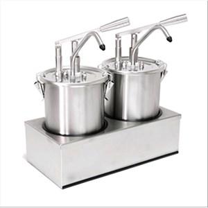 SAUCENSPENDER (2 PUMPEN) - Mod. DIS A2 - aus Edelstahl Aisi 304 - geeignet für kalte, dicke Saucen, Honig - Füllmenge: 5 x 2 Liter - Saucenportion: 40 ml x 2 (einstellbar) - Produktmaße in cm (B  x T x H): 40,5 x 20,5 x 43,5 - EG-Norm