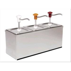 SAUCENSPENDER (3 PUMPEN) - Mod. DIS B3 - aus Edelstahl Aisi 304 - geeignet für kalte und dickflüssige Saucen - Füllmenge: 3 x 3 Liter - Saucenportion: 30 ml x 3 (einstellbar) - Produktmaße in cm (B  x T x H): 60,5 x 20,5 x 43,5 - EG-Norm