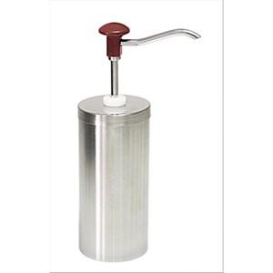 ZYLINDERFÖRMIGER SAUCENSPENDER (1 PUMPE) - Mod. DIS C1 - aus rostfreiem Stahl - geeignet für kalte, dickflüssige Saucen, Honig - Füllmenge: 2,25 Liter - Saucenportion: 30 ml (einstellbar) - Produktmaße in cm: ø 11,7 x 33,5h - EG-Norm