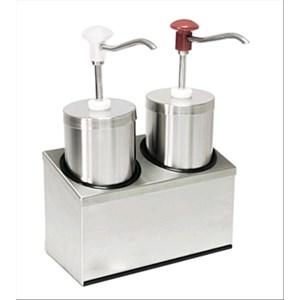 ZYLINDRISCHER SAUCENSPENDER (2 PUMPEN) - Mod. DIS C2 - aus rostfreiem Stahl - geeignet für kalte, dickflüssige Saucen, Honig - Füllmenge: 2,25 x 2 Liter - Saucenportion: 30 ml x 2 (einstellbar) - Produktmaße in cm (B  x T x H): 29 x 14,5 x 47 - EG-Norm