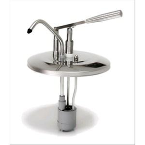 DECKEL FÜR PUMPSTATION - Mod. DIS E1 - aus Edelstahl - ideal bei hohem Verbrauch - geeignet für kalte, dickflüssige Saucen, Honig - Saucenportion: 40 ml (einstellbar) - passend zu Behälter mit 8, 9 und 10 Liter - Abmessungen in cm: ø 27,5 x 44h - EG-Norm