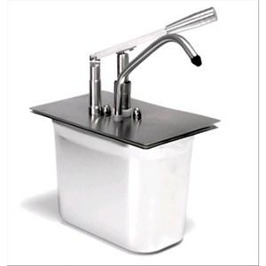 SAUCENSPENDER (1 PUMPE) - Mod. DIS L1 - Becken GN 1/4 cm 20h - geeinget für kalte und dicke Saucen - Füllmenge: 5 Liter - Saucenportion: 40 ml (einstellbar) - Produktmaße in cm (B  x T x H): 24 x 14 x 35 - EG-Norm