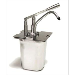 SAUCENSPENDER (1 PUMPE) - Mod. DIS M1 - Becken: GN 1/6 cm 20h - geeinget für kalte und dicke Saucen - Füllmenge: 3 Liter - Saucenportion: 40 ml (einstellbar) - Produktmaße in cm (B  x T x H): 18 x 18 x 42 - EG-Norm