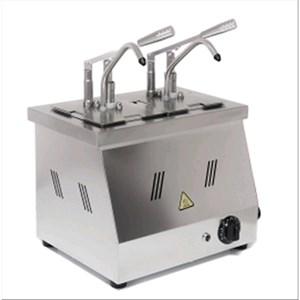 BEHEIZTER-SAUCENSPENDER - Mod. DIS N2 - Behälter: GN 1/6 200h - geeignet für warme, viskose, dickflüssige Saucen - Saucenportion: 40 ml (einstellbar) - 2 Pumpen - Leistung: 1500 W -Produktmaße in cm (B  x T x H): 40,5 x 20,5 x 43,5 - Gewicht: 8 kg - EG-Norm