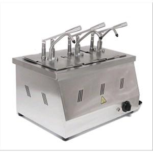 HEISS-SAUCENSPENDER - Mod. DIS 03 - Behälter GN 1/4 200h - geeignet für warme, viskose, dickflüssige Saucen - Saucenportion: 40 ml (einstellbar) - 3 Pumpen - Leistung: 2200 W - Produktmaße in cm (B  x T x H): 60,5 x 265 x 43,5 - Gewicht: 11 kg - EG-Norm