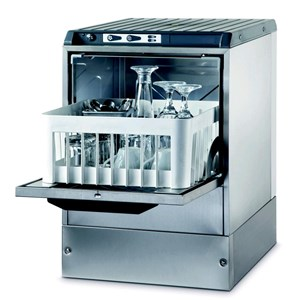 "Gläserspülmaschine - Edelstahl AISI 304 18/10 - Mod. 3500 ST - max. Einschubhöhe: 25 cm - Korbmaße (B x T): 35 x 35 cm - Spüldauer: 120"" - Produktmaße in cm (B x T x H): 42,5 x 45,5 x 63,6"