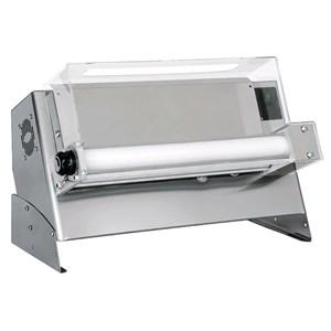 TEIGAUSROLLMASCHINE - EINZELWALZEN UND ELEKTRISCHES FUSSPEDAL - Mod. DMA 500/1 - Leistung hp 0,33 -  230 V einphasig - Abmessungen in cm (BxTxH):  65 x 34,5 x 43 cm  - Gewicht 27 kg - Pizzadurchmesser 26/45 cm - CE-Norm