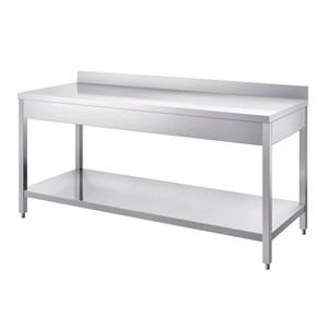 Arbeitstisch aus Edelstahl - viereckige Füße: 4x4 cm - mit unterer Ablagefläche - Dicke der Arbeitsplatte: 4 cm - mit Aufkantung