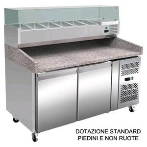 Pizza-Kühltisch TN - Edelstahl AISI 304 - mit Kühlaufsatz - für Pizzateigbehälter 60x40 cm - Umluftkühlung - Mod. RB0238 - 2 Türen - Temperaturberereich:  -2°/+8°C - Produktmaße (B x T x H): 151,5 X 80 X 143,5 - CE-Kennzeichnung