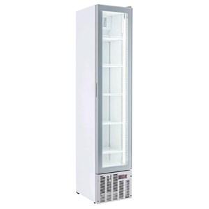 Getränkekühlschrank - weiß lackiertes Stahlblech - statische Kühlung, unterstützt durch einen Lüfter für eine gleichmäßige Temperaturverteilung - MOD. ESP COOLER - Nutzvolumen: 160 Liter - 1 Glastür - Temperaturberereich:  0/+10°C - Produktmaße (B x T x H): 39 x 46 x 188 - CE-Kennzeichnung