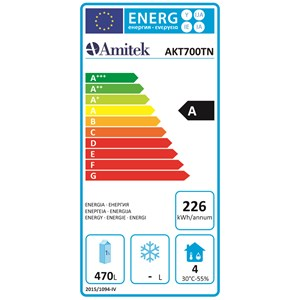 KÜHLSCHRANK AUS EDELSTAHL - Umluftkühlung - Mod. AKT700TN - Gastronorm 2/1 (65 x 53 cm) - 1 Tür - Kühlvolumen: 700 Liter - Temperaturbereich: 0°C bis +8°C - Produktmaße (B x T x H): 74 x 88,8 x 205 - CE-Zeichen