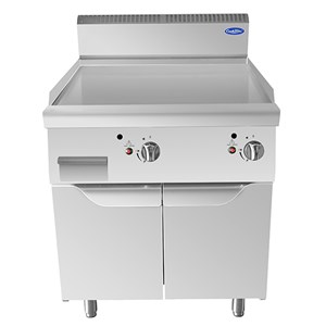 GAS-GRILLPLATTE MIT GLATTER INOX-GRIDDLEPLATTE - Mod. CV9I8IHC - UNTERBAU MIT FLÜGELTÜREN - Leistung: 20 kW - Produktmaße (B x T x H): 80 X 90 X 114 - CE Kennzeichnung