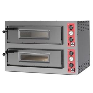 ELEKTRO-PIZZAOFEN MIT MECHANISCHER BEDIENUNG - Mod. BIG 8 - 2 Backkammern - Schamottsteinboden oder Backkammer in Vollschamott - Backkammermaße in cm (BxTxH): 70 x 70 x 15 - 4 + 4 Pizzen (Ø cm 30/34) - Leistung: 11,2 kW - CE Kennzeichnung